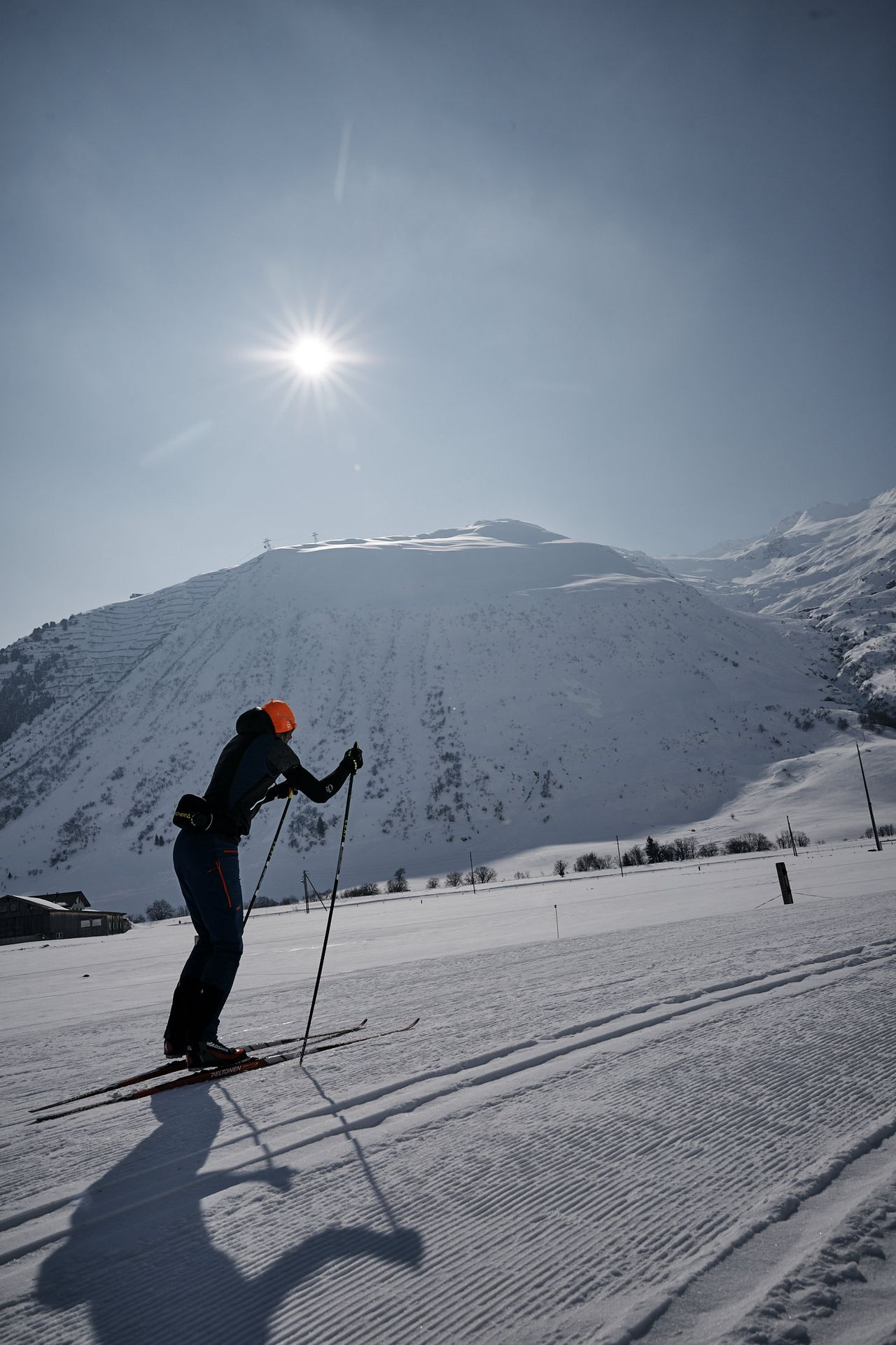 Cross-country skiing trails in Urserntal valley