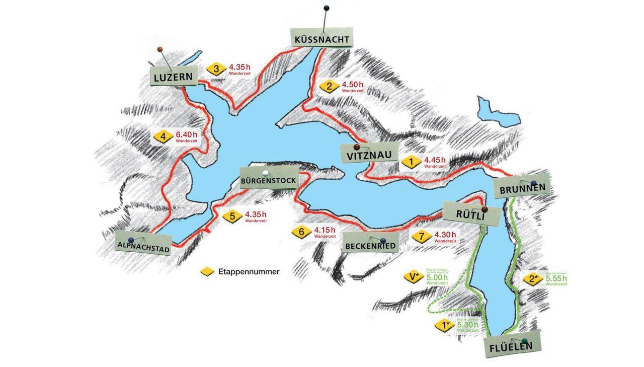 Karte Weg der Schweiz & Waldstätterweg