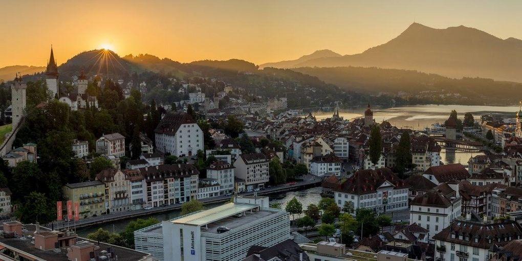 Switzerland Cities: Luzern, Morgenpanorama