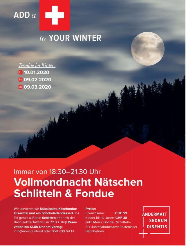 Vollmondnacht Nätschen Schlitteln & Fondue